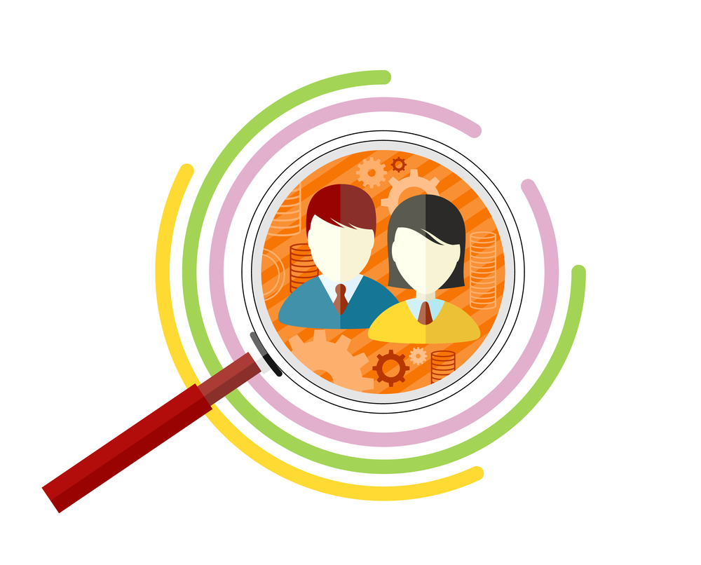 Illustration of magnifying glass on two people with gears in the background and circles around the magnifying glass, target market concept