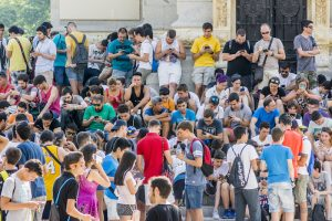 Large group playing Pokemon in Spain